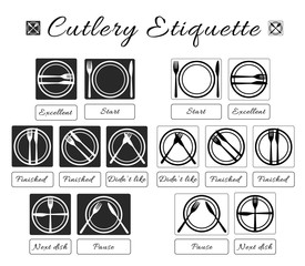 Cutlery etiquette. Table etiquette. Set of eating utensils etiquette icons. Food eating rules and manners. Table manners and fine dining etiquette. Fork, knife, plate. Vector isolated illustration.