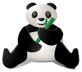 Sitting panda eating bamboo vector image