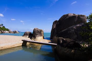 The beach of the island.