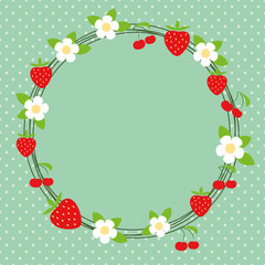 Lovely frame with berries and flowers, polka-dot