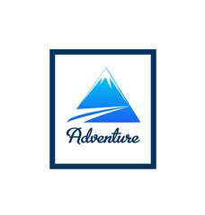 Blue mountain logo frame vector
