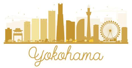 Yokohama City skyline golden silhouette.