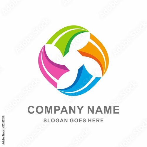 infinity colorful arrow recycle vector logo template stock image