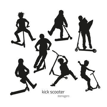 Jumping on a kick scooter silhouettes teen on the white background. Vector illustration