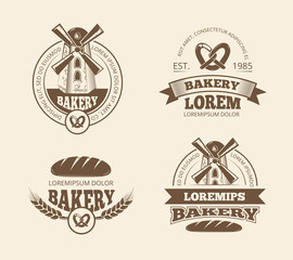 Retro bread bakery old style logos labels badges emblems. Badge and sticker for bakery bread, product bread label illustration
