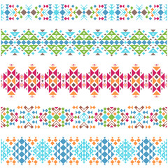 Colored tribal aztec ethnic horizontal borders. Vector illustration