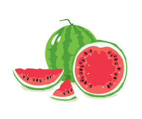Set of watermelons/Collections of vector illustration with slices of watermelon