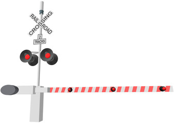 railroad crossing vector illustration isolated on white backgrou