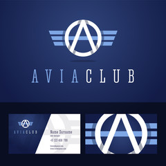 Avia club logo and business card template.