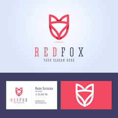 Red fox logo and business card template.