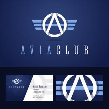 Avia club logo and business card template.