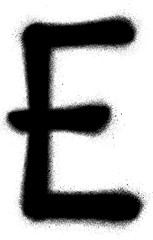 sprayed E font graffiti in black over white