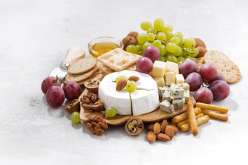 camembert, grapes and snacks on a white background