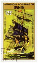 "Sail Merchantman ""Wavertree"" (1895) on postage stamp"