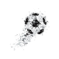 vector black grunge soccer ball on white, stains black and gray, grunge ball, spray