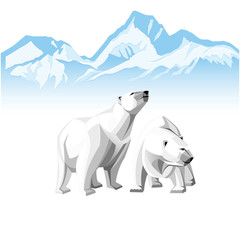 Two white polar bear on a background of of Icebergs.