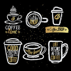 hand drawn coffee cups with lettering
