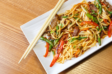 Udon noodles with beef in asian restaurant