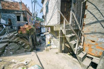 Jumble of ramshackle buildings of the Favela Santa Marta Community on a hillside in the center of Rio de Janeiro Brazil