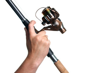 new spinning rod in hand on a white isolated background