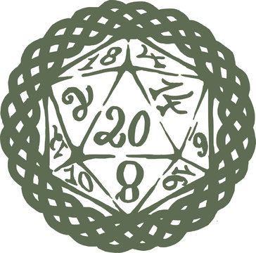 Twenty Sided Dice with border - D20 Roleplay - critical hit