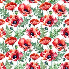 Watercolor poppy flower pattern