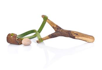Wooden slingshot isolated on white background