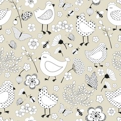Seamless floral pattern with chicken cartoon