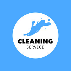 Vector logo for cleaning company. Flat cleaning service insignia. Simple cleaning logo icon isolated on white background.