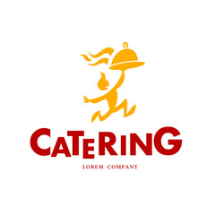 Vector simple flat food logo. Restaurant, cafe, catering insignia. Food icon. Running man with dish icon isolated