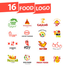 Vector simple flat food logo. Restaurant, cafe, catering insignia. Food icon. Food icon collection isolated on white background.