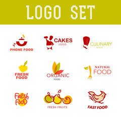 Vector simple flat food logo. Restaurant, cafe, catering insignia. Food icon. Food, dish icon isolated on white background.