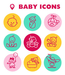 Vector simple flat kid simple icon isolated. Baby, child company goods, toys shop, candy bar, store logo, insignia. Human icon.