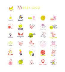 Vector simple flat kid logo set. Baby, child goods, toys store logo. Elephant, dolphin, cat, bird, dog, stork, chicken, bunny, castle, boy, girl icon.