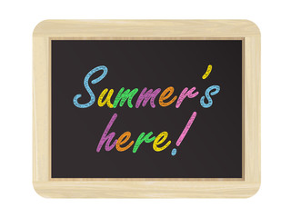 """SUMMER'S HERE"" on chalkboard"