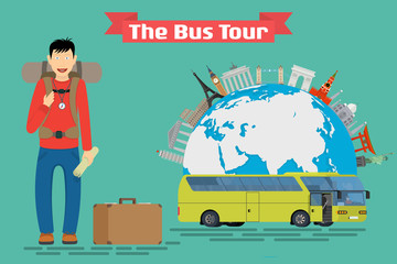Vector conceptual illustration - Tourist goes to The Bus Tour of Europe and popular familiar landmarks. Globe with monuments and green touristic bus.