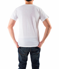 Young man with blank white shirt isolated white background, on b