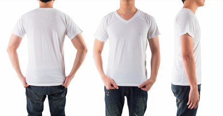 Young man with blank white shirt isolated white background, on f