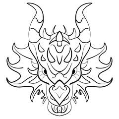 Black dragon tattoo design on white background