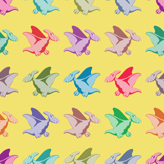 Colored dinosaurs. Seamless pattern