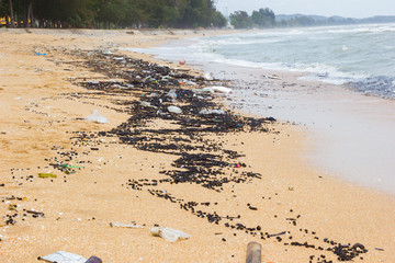 Pollution on the beach of tropical sea, chanthaburi beach, Thailand