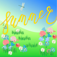 Hand drawn summer Quote. Vector poster of season with flowers