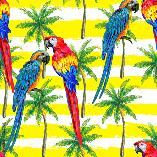 seamless jungle tropical pattern with parrot exotic bird palm trees vector background perfect. Black Bedroom Furniture Sets. Home Design Ideas