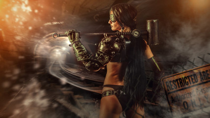 Powerful fantasy woman miner with a heavy sledgehammer.