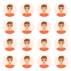 Set of boy emotions icons. Isolated collection of cartoon boy avatars with different expressions of faces. Vector illustration.