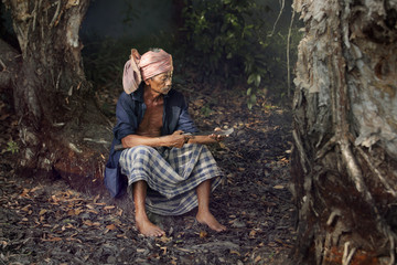 Portrait of old farmer, mature Asian man.