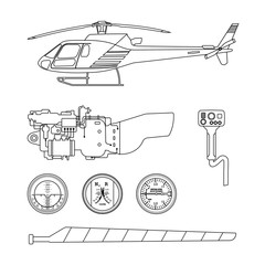 Repair and maintenance of the helicopter. Set of parts of helico