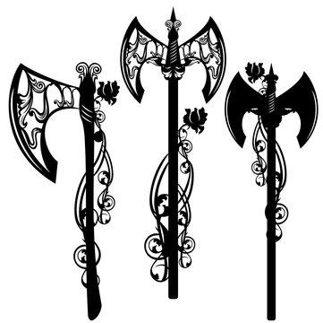 battle axe among roses design set