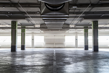 Parking garag interior, industrial building,Empty underground pa