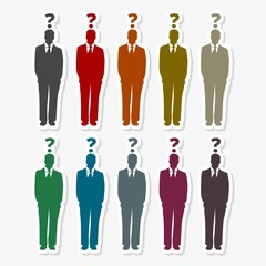 Man with question mark sticker set